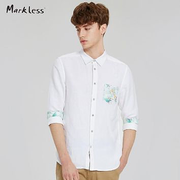 Markless New Linen Casual Shirts Men Creative Embellishment Fashion Shirt Slim Fit Long Sleeve Male Shirts 2017 Spring