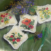 Needlework Craft Kit - 4 Scent Sachets - Flower Fruit Design - Vintage Unopened - Dated 1982 by The Creative Circle - Sewing Gift for Her