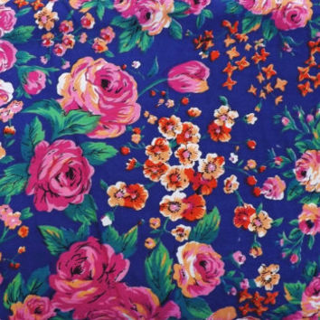 Vintage Large Fabric Lot Yardage Bulk Fabric Cotton Hot Pink Rose Floral Print Purple Blue 50's Tea Dress Making Fabric Hipster Party Dress