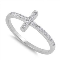 Cubic Zirconia Sterling Silver 925 Christian Sideway Cross Ring Size 5