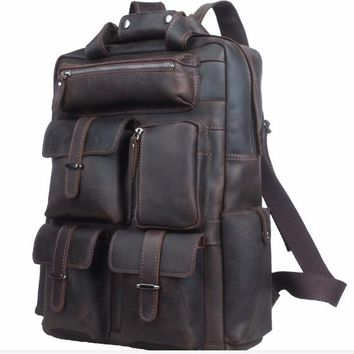 Vintage Genuine Leather Luggage Backpack