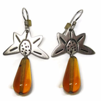 Vintage Mexican Sterling Sunflower Amber Drop Dangle Earrings