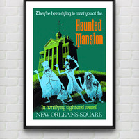 Vintage Disneyland Haunted Mansion Attraction Poster Reprint -- Not Framed - Buy 2 Get 1 Free!