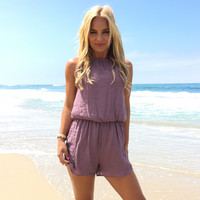 Living The Life Romper In Plum