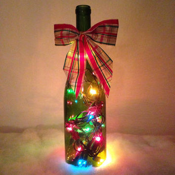 holly leaves wine bottle lamp christmas lights christmas decorations bottle light accent