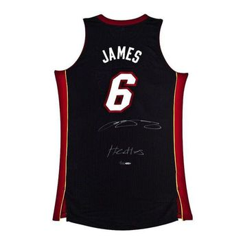LMFONY LeBron James Signed Autographed Miami Heat Basketball Jersey (Upper Deck Authenticated)