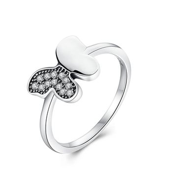 Genuine 100% 925 Sterling Silver Dancing Butterfly,Clear CZ Finger Ring for Women Wedding Jewelry PA7617
