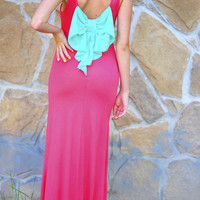 Topped With A Bow Maxi Dress: Hot Coral/Aqua | Hope's