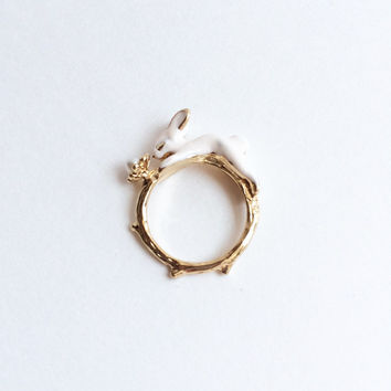 Bunny Ring Bunny Wrap Ring Bunny Jewelry Rabbit Ring Pearl Ring Gold Tone Ring Sister Gift Bridesmaid Gift Adorable Gift for Her
