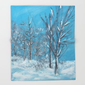 Snowy Trees Throw Blanket by Lindsay