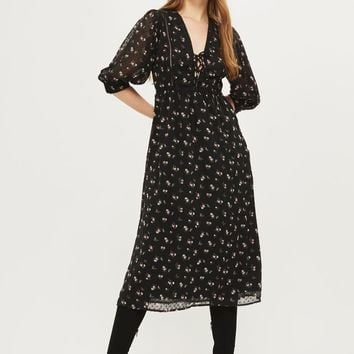 Lattice flower midi dress | Topshop