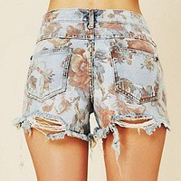 Free People  Floral Printed Denim Cutoff at Free People Clothing Boutique