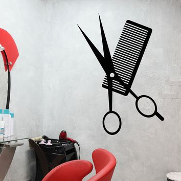 Vinyl Wall Decal Comb Scissors Hair Salon Haircut Hairstyle Stickers (2359ig)