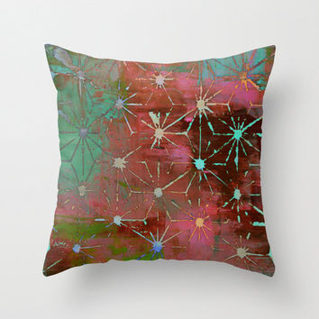 Stencil Pillow Cover - artsy print pattern illustration red blue green abstract hipster decorative home decor unique flower geometric pretty