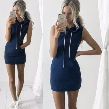 Cool Casual Hoodie Simple Mini Dress
