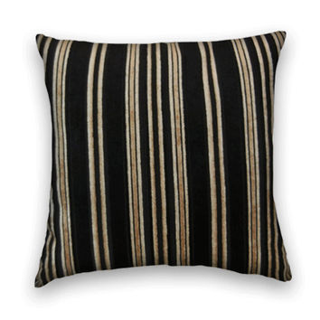 Velvet Decorative Pillow Cover--20 x 20 Striped Throw Pillow-- Black, Gray  Gold and White