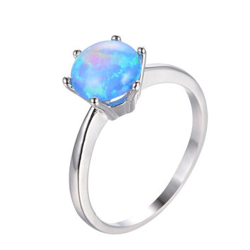 925 Sterling Silver Blue Fire Opal Rings for Women/Men Wedding Bands White Gold Filled Round Ball Six Claw Opal Ring Gift RP0082