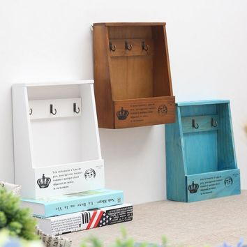 retro Wall Mounted wooden Box Organizer Key Hanging hooks mail box Phone storage box Small objects Shelf Hanging Basket