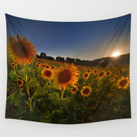 """Sunflowers following the sun"" Wall Tapestry by Guido Montañés"
