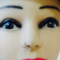 Tiny nose ring silver or gold with small silver bead,nose bud,nose piercing