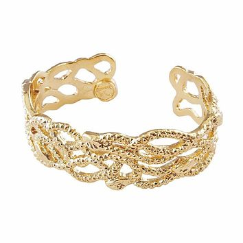 Gold Plated Hydra Snakes Cuff Bracelet
