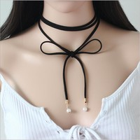 Black Velvet Ribbon Choker Collar
