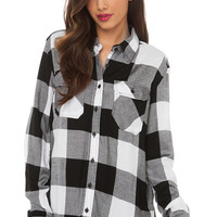 Check Yourself Flannel White Black Shirt