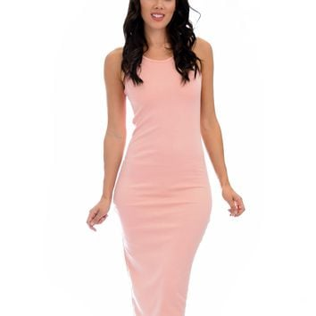 Lyss Loo Hourglass Bodycon Pink Midi Dress