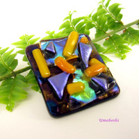 Handmade Square Dichroic Glass Kiln-Fired Brooch on Radium Base Multi-colored
