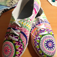 Aztec adventure Tennis Shoes Custom Made & Hand-drawn