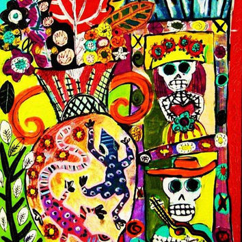 Lizard Vase & Day of the Dead Retablo  by SandraSilberzweigArt