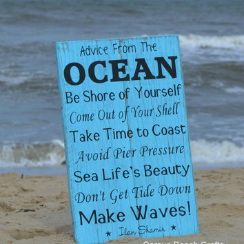Beach Decor, Beach Sign, 18x12, Advice From The Ocean Sign - Painted - Ocean Sign - Beach Wall Decor - Beach House - Coastal Decor - Nautica