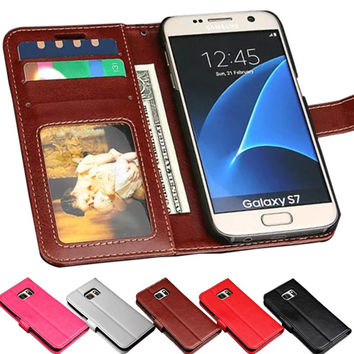 S7 Edge PU Leather Cases For Samsung Galaxy S7 G9300 Flip Wallet Card Slots Stand Cover Coque For Samsung Galaxy S7 Edge G9350