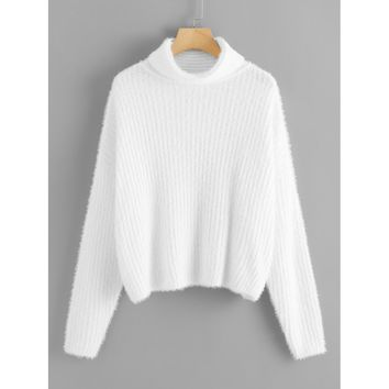Roll Neck Rib Knit Fuzzy Sweater