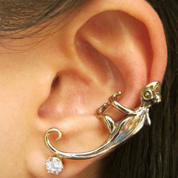 Bronze Gecko Ear Cuff