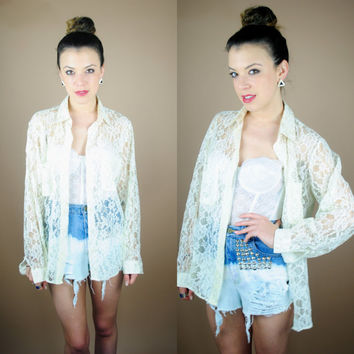 Vintage 1990s Oversize sheer lace long sleeve button down lace grunge 90s shirt blouse top M L