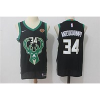 NBA Authentic Basketball Player Jerseys Milwaukee Bucks # 34 Giannis Antetokounmpo Black