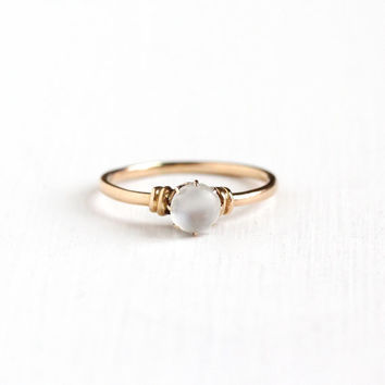 Antique Victorian 10k Rose Gold Moonstone Ring - Vintage Size 5.5 Victorian Alluring Glowing Gemstone Solitaire Fine Jewelry