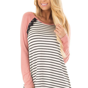 Ivory and Black Striped Top with Mauve Contrast
