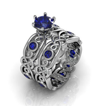 Celtic Ring:  Created Sapphire Sterling Silver Celtic Knot  Love and Friendship Engagement and Promise Solitaire Ring Set