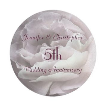 Pink Rose Paper Plates, 5th Wedding Anniversary Paper Plate