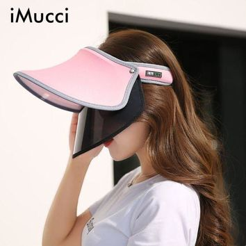 PEAP78W iMucci New Double Hats Visor Female Summer Sun Empty Top Cap Solid Unisex UV Sun Hat Woman Beach Hat