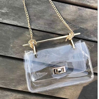 Women's fashion new metal tote handle summer beach chain transparent bag pvc crossbody handbag clear lock shoulder bags bolsa