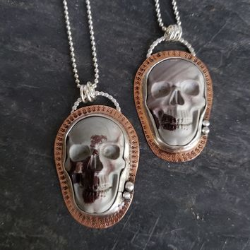 Carved Jasper Skull Pendant in Sterling Silver and Copper