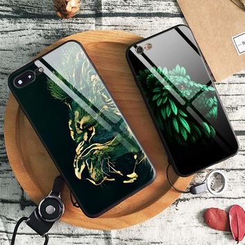 Lion Portrait Green leaf Abstract Tempered Glass Soft Silicone Phone Case Shell Cover For Apple iPhone 6 6s 7 8 Plus X XR XS MAX