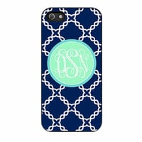 monogrammed navy blue and mint cases for iphone se 5 5s 5c 4 4s 6 6s plus