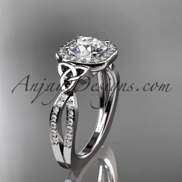14kt white gold diamond celtic trinity knot wedding ring, engagement ring CT7393