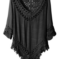 LE3NO Womens Lightweight Loose Fit 3/4 Sleeve Crochet Tunic Top