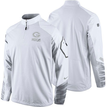 Green Bay Packers Nike Platinum Fly Rush 2.0 Pullover Performance Jacket – White - http://www.shareasale.com/m-pr.cfm?merchantID=7124&userID=1042934&productID=551045800 / Green Bay Packers