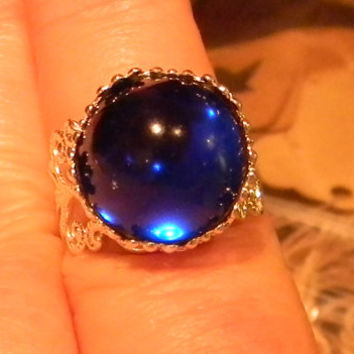 Queen's Blue - Witch Rings -Renaissance Medieval Cabochon Gemstone Ring-  Adjustable